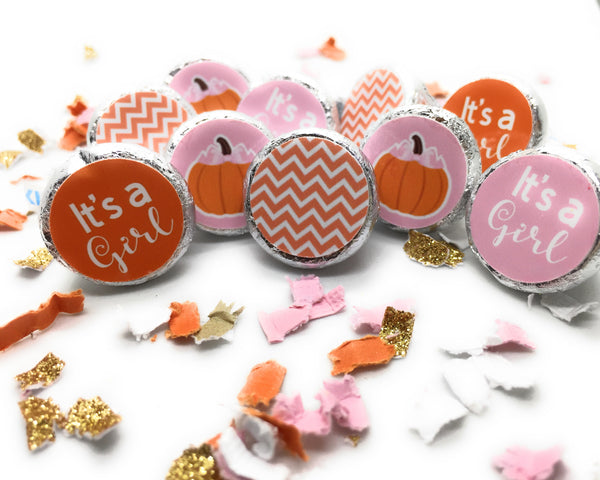 Little Pumpkin Baby Shower Table Sprinkles or Confetti/Pink, Gold and White Tissue Paper Confetti/Gold Pumpkins