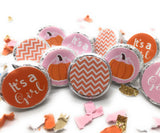 Little Pumpkin Baby Shower - Birthday - Gold Glitter Cupcake Toppers - Pink or Blue (Set of 12)