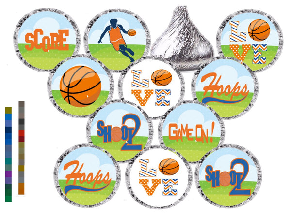 Sports Theme Stickers - Hershey's® Kisses Stickers - ANY COLOR - ANY THEME -  Printed/Shipped (set of 216) Free Shipping Use Code SHIPFREE