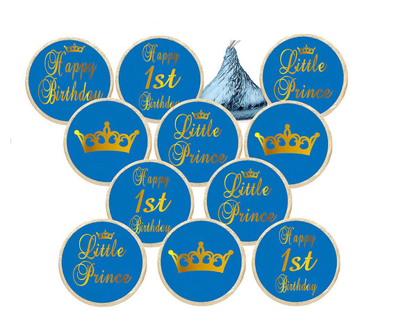Prince First Birthday Theme Stickers - Hershey's® Kisses Stickers - Printed/Shipped (set of 216) Free Shipping Use Code SHIPFREE