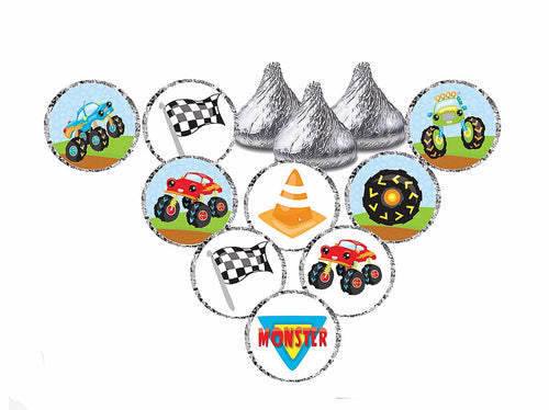 Monster Truck Theme Stickers - Hershey's® Kisses Stickers - Printed/Shipped (set of 216) Free Shipping Use Code SHIPFREE
