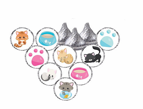 Kitten Theme Stickers - Hershey's® Kisses Stickers - Printed/Shipped (set of 216) Free Shipping Use Code SHIPFREE