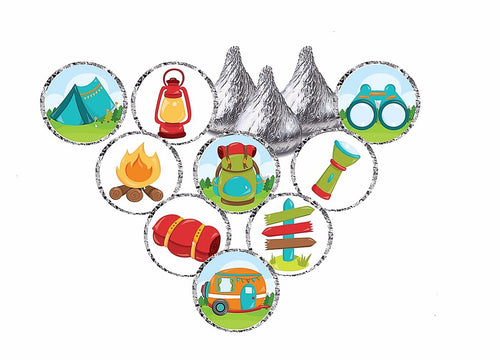 Camping Theme Stickers - Hershey's® Kisses Stickers - Printed/Shipped (set of 216) Free Shipping Use Code SHIPFREE