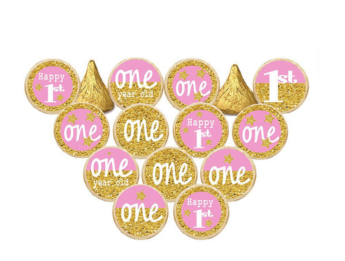 First Birthday - Fun To Be One - or Princess Pink & Gold Hershey's Kisses Stickers Pink or Blue Candy Stickers - Printed/Shipped (set of 216) Free Shipping Use Code SHIPFREE
