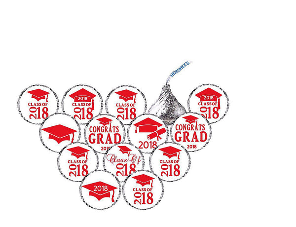 2018 Graduation Hershey Kisses Stickers  - Hershey's Candy Stickers - Printed & Shipped - FREE SHIPPING - USE CODE SHIPFREE