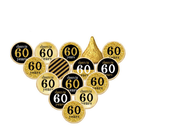 70TH Happy Birthday Hershey Kisses Stickers  - Hershey's Candy Stickers - Printed & Shipped - FREE SHIPPING - USE CODE SHIPFREE