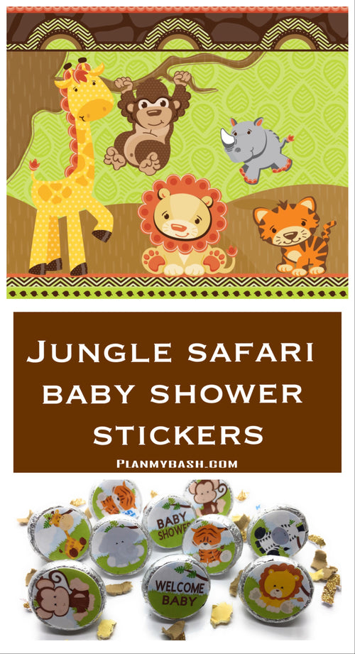 Safari Jungle Theme Baby Shower Stickers for Hershey Kisses - (set of 216) -Free Shipping Use Code SHIPFREE