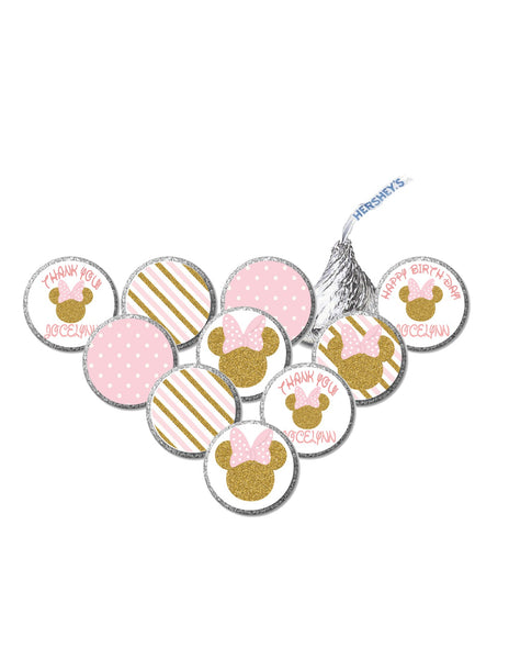 Pink & Gold Decorations | Minnie Inspired Candy Stickers | 36 Stickers | Hershey Candy Stickers