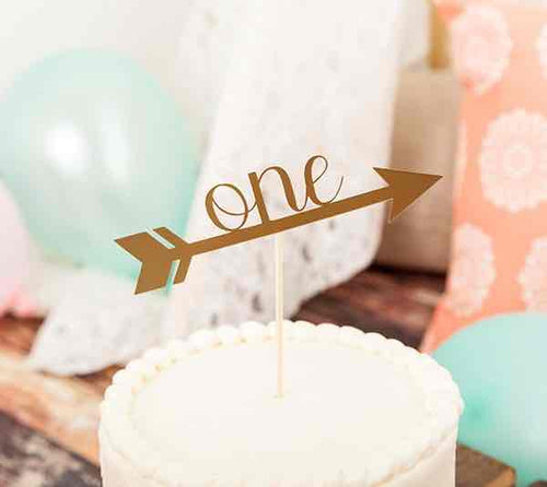 Boho One Year Cake Topper