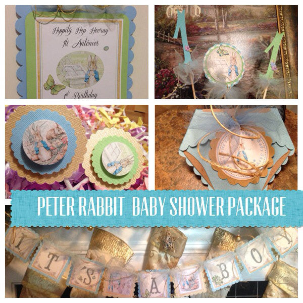 Peter Rabbit Classic Edition Baby Shower Package in Blue or Pink Theme