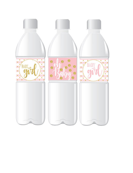 It's A Girl Baby Shower Water Bottle Labels | Pink & Gold Baby Shower Decorations | Printed & Shipped | 24 Labels