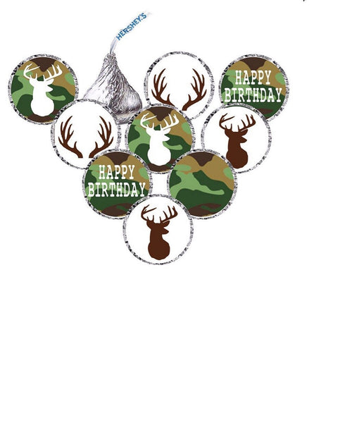 It's a Buck Deer Birthday Hershey's Kisses Stickers - Camo/Blue OR Camo/Pink - Printed & Shipped (210 Stickers)  -Free Shipping Use Code SHIPFREE