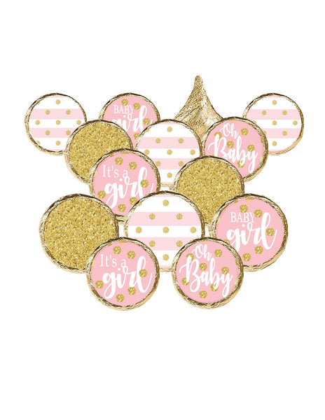 It's A Girl Baby Shower Hershey Kisses Stickers | Pink & Gold Baby Shower Decorations | Printed & Shipped