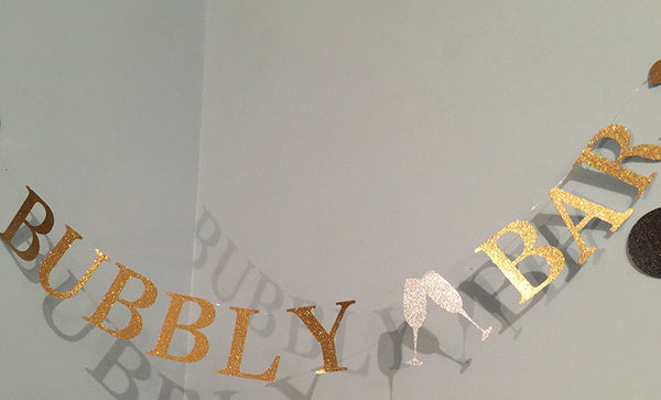 """Bubbly Bar"" Banner for Bridal Shower and Bachelorette Party - Decorations and Photo Prop"