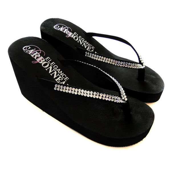 f20c1165e04e8 ... Crystals ~ Ivory or White High Wedge Bridal Flip Flops with Crystal  Accented Suedene Strap