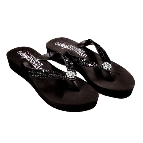Breeze - Ivory High Wedge Bridal Flip Flops with Sequins & Crystals