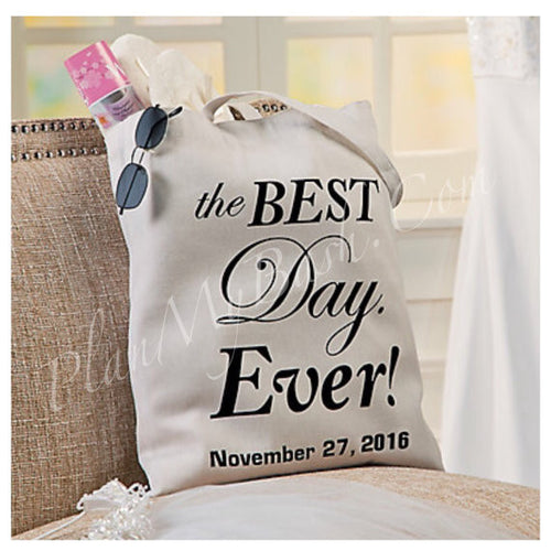 "New...Personalized ""Best Day Ever"" Large Canvas Tote"
