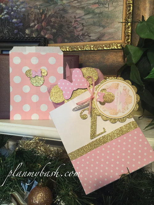 Free shipping...Minnie Mouse Pink Gold Favor Bags & Favor Tags (SHIPFREE CODE)
