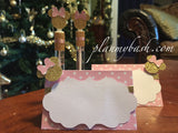 Minnie Mouse Pink Gold Favor Cupcake Toppers