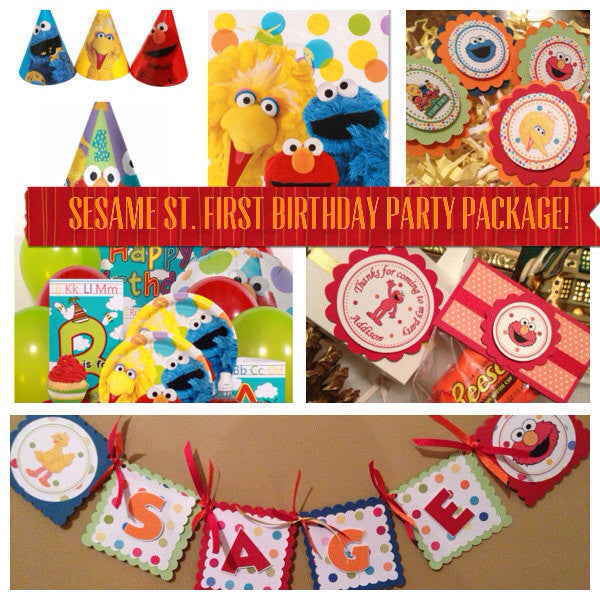 New...Sesame St. First Birthday Party Package