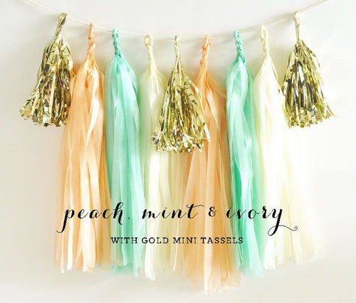 Mint and Pink Tassel Garland - Pink and Mint and Gold Tissue Garland