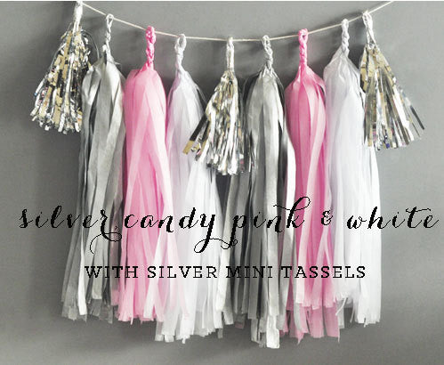 Candy Pink, Silver &  White Baby Girl Shower Decor