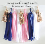 Nautical Bridal Shower Banner Garland in Navy and Pink