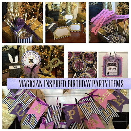 Free Shipping....Magician Inspired Birthday Banner, Party Supplies (USE CODE SHIPFREE)