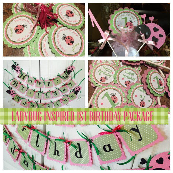 Free Shipping....Ladybug Inspired Birthday Decor, Party Supplies (USE CODE SHIPFREE)