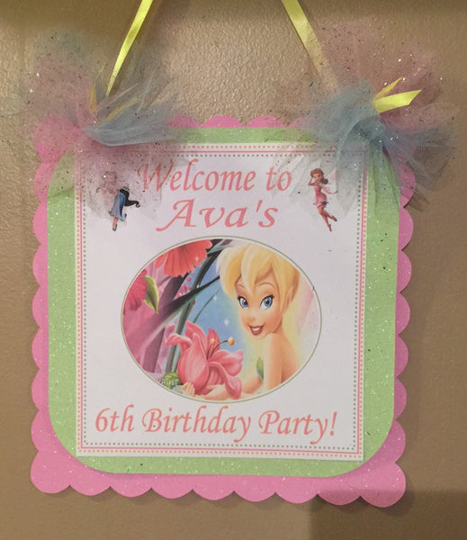 "Fairy Tinkerbell Party Decorations ""Happy Birthday Banner"""