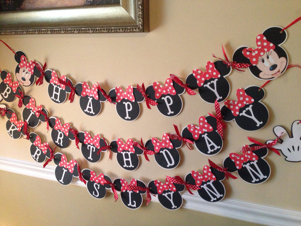 Mickey Minnie Happy Birthday Banner /Name
