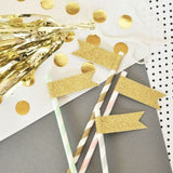 Gold or Silver Glitter Straws and Flag (Set of 24)