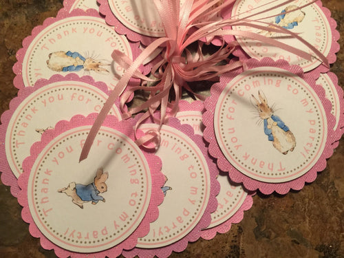 Peter Rabbit Inspired Favor Tags w/Ribbon (set of 12)