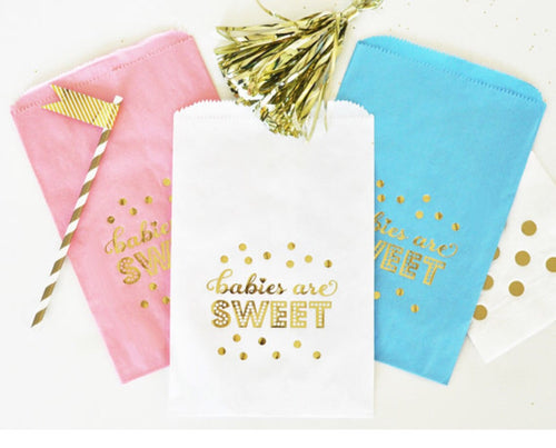 """Babies are Sweet"" Gold Foil Candy Buffet Bags (set of 12)"