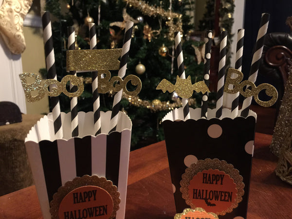 "Free Shipping! Halloween ""Boo"" & ""Bat"" Party Straws (set of 24)"