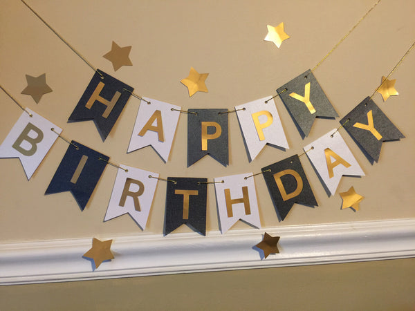 Free Shipping! Pink/Gold/White Birthday Banner (USE CODE SHIPFREE)