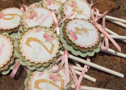 Gold Mint Green Fairy Theme Cupcake Toppers
