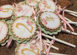 Stylish Shabby Chic Fairy Theme Pink Green & Gold Food Cards....(set of 10)