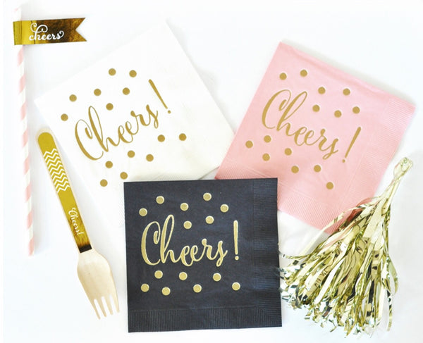 Metallic Gold Cheers Napkins (set of 25)