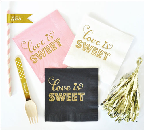 "Metallic Gold ""Love Is Sweet"" Napkins (set of 25)"