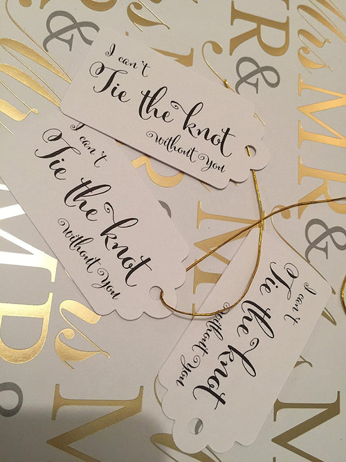 "Cream Bridesmaids Tags - Small Personalized Favor Tags - ""I Can't Tie The Knot Without You"" (Set of 20)"