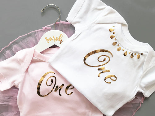 First Birthday Baby Bodysuit - First Birthday Onesie - Birthday Outfit - Metallic Foil Onesie - Pink or White - 6 -18 MOS