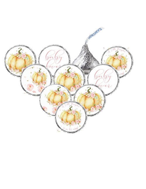 Floral Watercolor Little Pumpkin Baby Shower Stickers for Hershey Miniature Candy