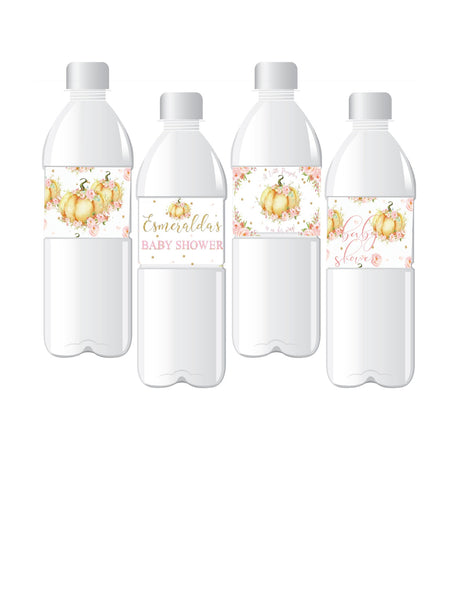 Personalize Floral Watercolor Little Pumpkin Baby Shower Water Bottle Labels