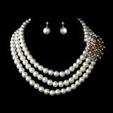 Silver White Necklace Earring Bridal Jewelry Set