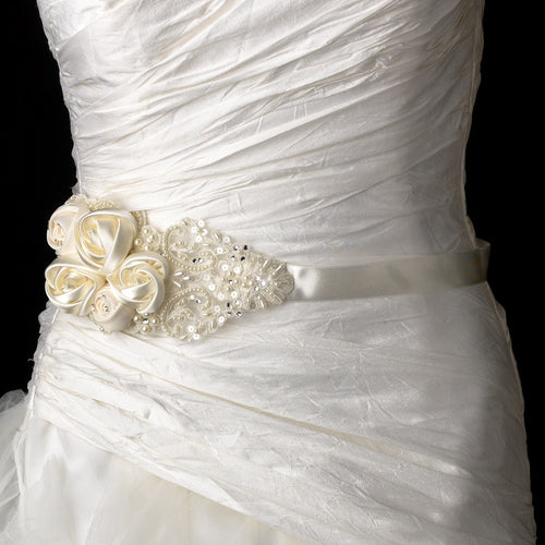 Intricate Rhinestone & Pearl Beaded Lace Flower Wedding Sash Bridal Belt