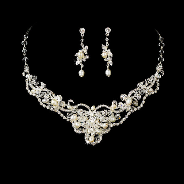 Silver Freshwater Pearl & Crystal Jewelry Set