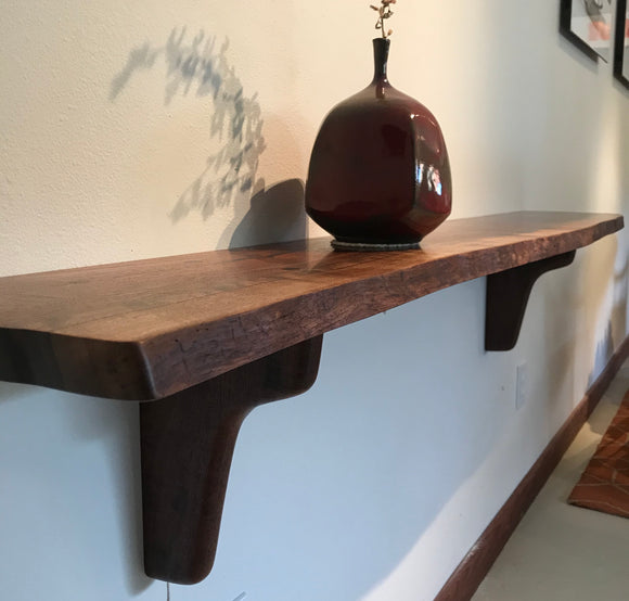Claro Walnut Natural Edge Shelf
