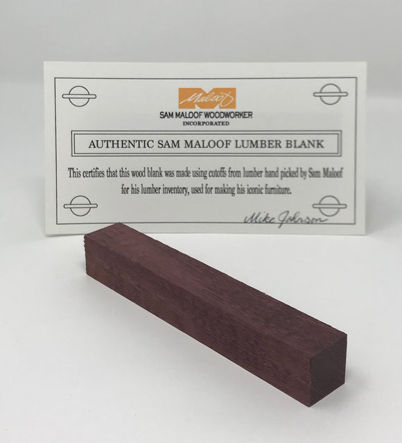 Purpleheart Pen Blank (Authentic Sam Maloof Lumber)