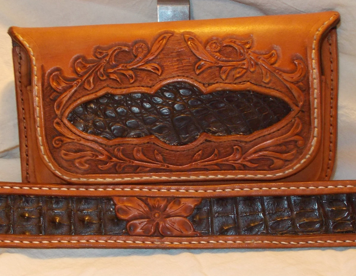 Caiman inlaid belt & cell case (Custom item made per order)